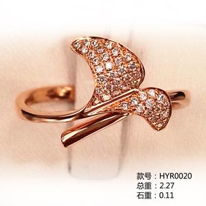叶子款18K金小清新钻石戒指HYR0020