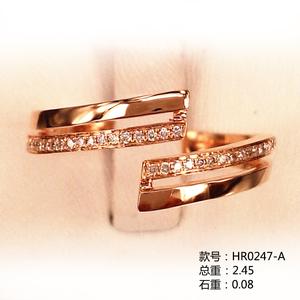 开口戒18K金小清新钻石戒指HR0247-A