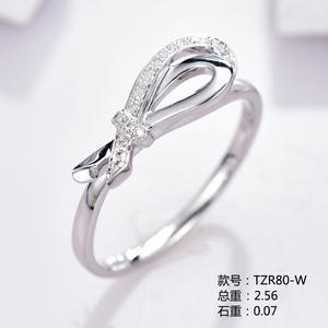 小清新18K金钻石戒指TZR80-W