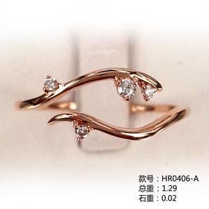 开口戒18K金小清新钻石戒指HR0406-A
