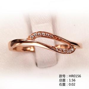 叶子款18K金小清新钻石戒指HR0156