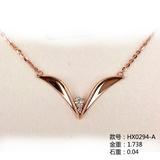 """""""V""""爱18K金钻石套链链牌HX0294-A"""